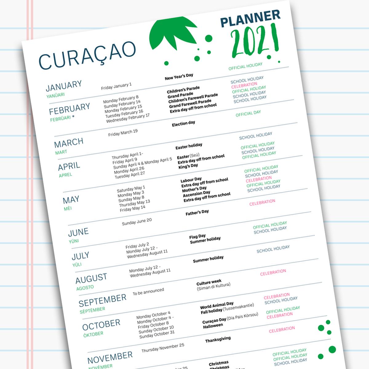 Calendar Curacao 2021